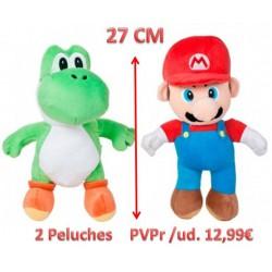 Peluche Mario y Yoshi - 2 Ud. (27cm)